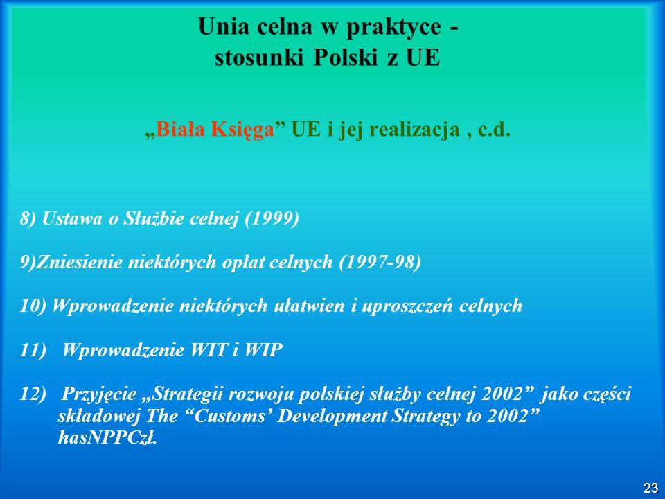 23 Unia celna w praktyce - stosunki Polski z UE Biała Księga UE i jej realizacja, c.d. 8) Ustawa o Służbie celnej (1999) 9)Zniesienie niektórych opłat