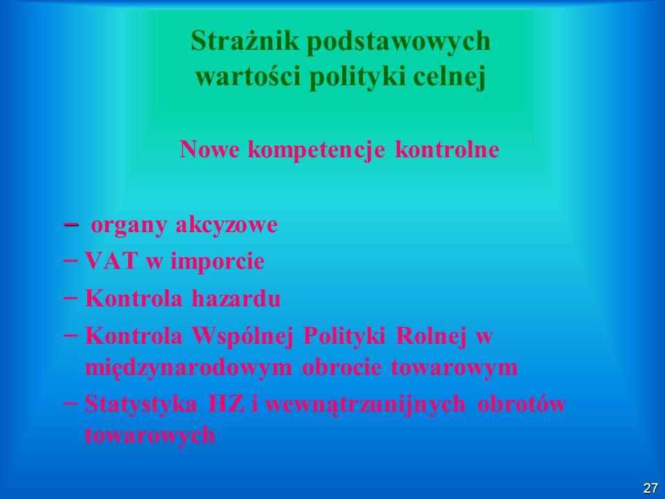27 Strażnik podstawowych wartości polityki celnej Nowe kompetencje kontrolne – – organy akcyzowe – – VAT w imporcie – – Kontrola hazardu – – Kontrola