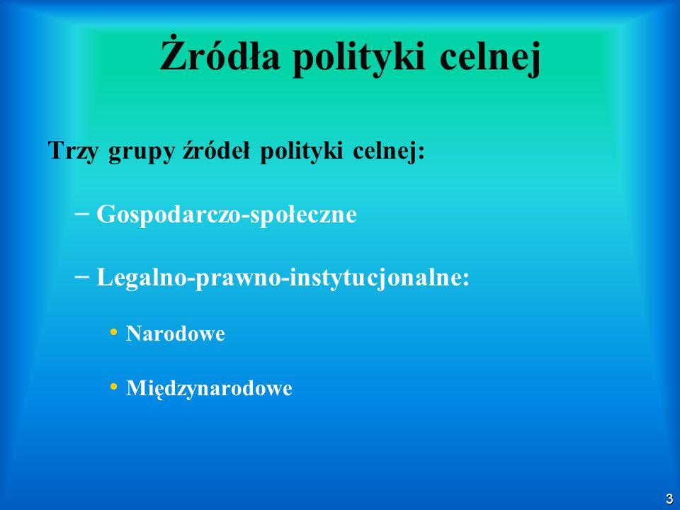 3 Żródła polityki celnej Trzy grupy źródeł polityki celnej: – – Gospodarczo-społeczne – – Legalno-prawno-instytucjonalne: Narodowe Międzynarodowe