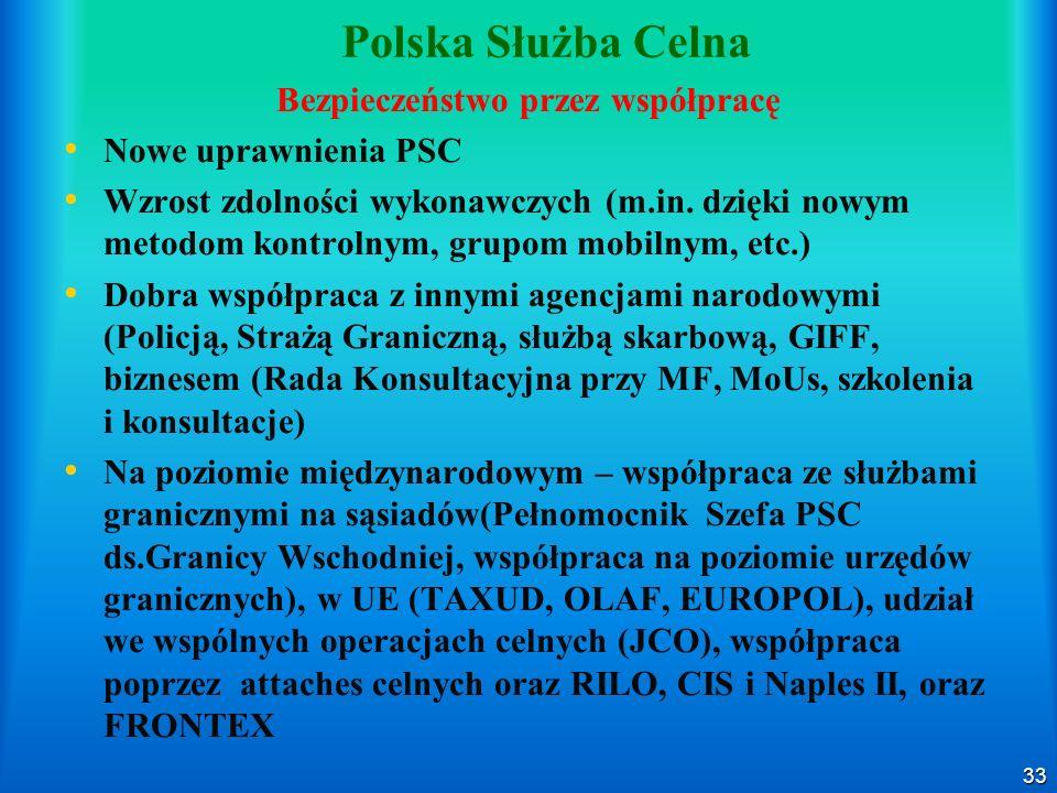 33 Polska Służba Celna Bezpieczeństwo przez współpracę Nowe uprawnienia PSC Wzrost zdolności wykonawczych (m.in. dzięki nowym metodom kontrolnym, grup