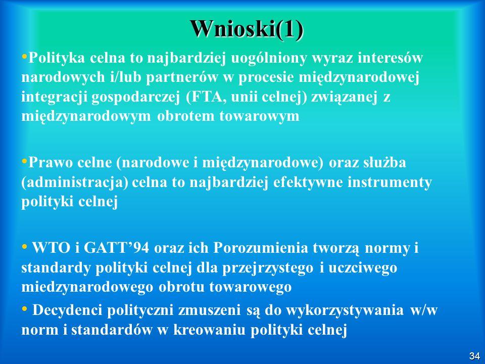 34 Wnioski(1) Polityka celna to najbardziej uogólniony wyraz interesów narodowych i/lub partnerów w procesie międzynarodowej integracji gospodarczej (