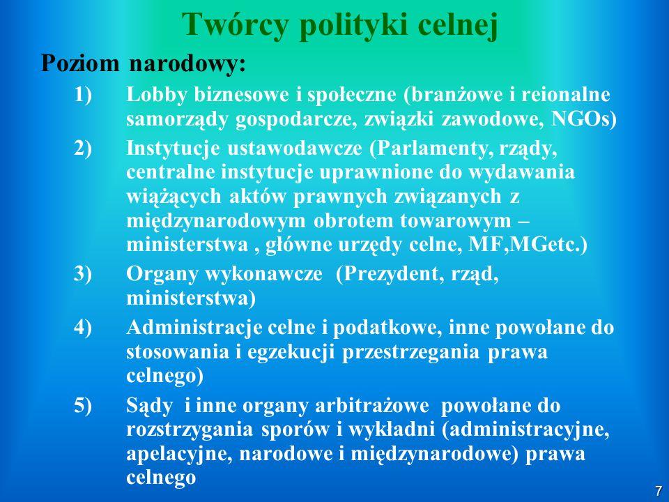 7 Twórcy polityki celnej Poziom narodowy: 1) 1)Lobby biznesowe i społeczne (branżowe i reionalne samorządy gospodarcze, związki zawodowe, NGOs) 2) 2)I