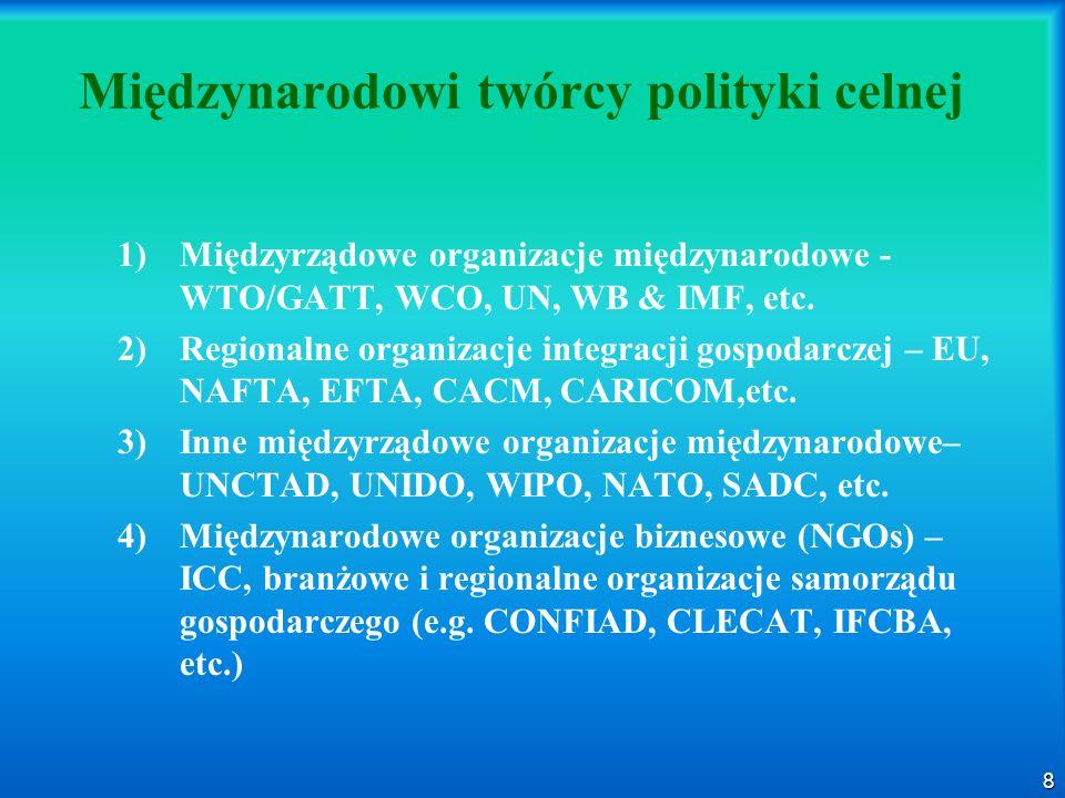 8 Międzynarodowi twórcy polityki celnej 1) 1)Międzyrządowe organizacje międzynarodowe - WTO/GATT, WCO, UN, WB & IMF, etc. 2) 2)Regionalne organizacje