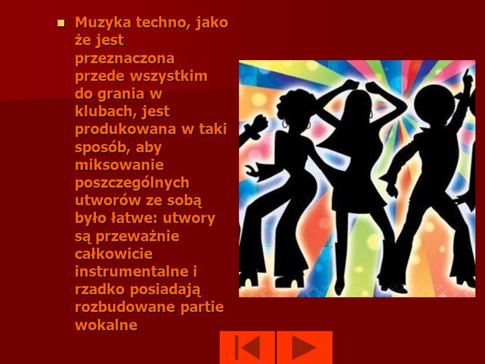 Techno to muzyka elektroniczna o jednostajnym, regularnym rytmie w metrum 4/4. Klasyczne techno posiada stosunkowo szybkie tempo około 130-140 uderzeń