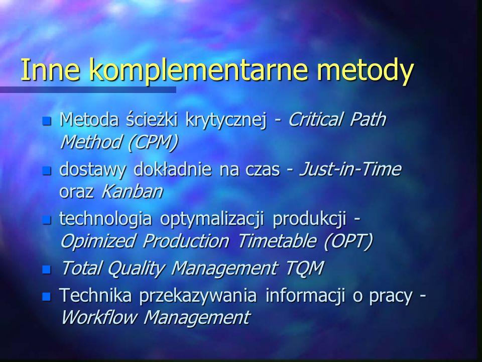 Inne komplementarne metody n Metoda ścieżki krytycznej - Critical Path Method (CPM) n dostawy dokładnie na czas - Just-in-Time oraz Kanban n technologia optymalizacji produkcji - Opimized Production Timetable (OPT) n Total Quality Management TQM n Technika przekazywania informacji o pracy - Workflow Management