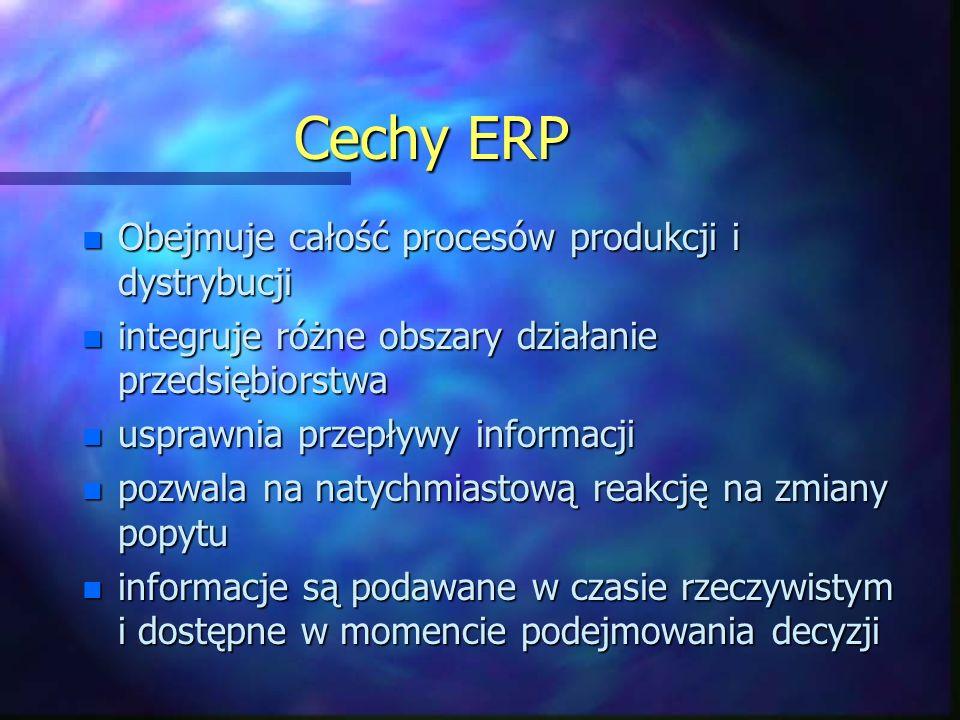Cechy ERP n Obejmuje całość procesów produkcji i dystrybucji n integruje różne obszary działanie przedsiębiorstwa n usprawnia przepływy informacji n pozwala na natychmiastową reakcję na zmiany popytu n informacje są podawane w czasie rzeczywistym i dostępne w momencie podejmowania decyzji