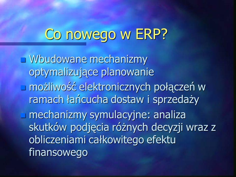 Co nowego w ERP? n Wbudowane mechanizmy optymalizujące planowanie n możliwość elektronicznych połączeń w ramach łańcucha dostaw i sprzedaży n mechaniz