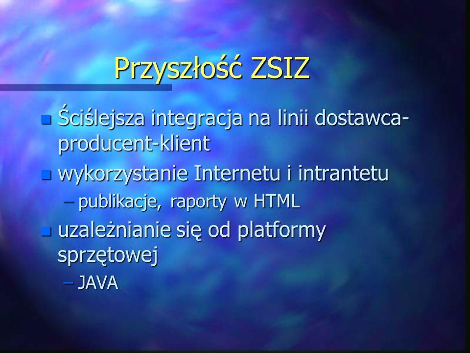 Przyszłość ZSIZ n Ściślejsza integracja na linii dostawca- producent-klient n wykorzystanie Internetu i intrantetu –publikacje, raporty w HTML n uzależnianie się od platformy sprzętowej –JAVA