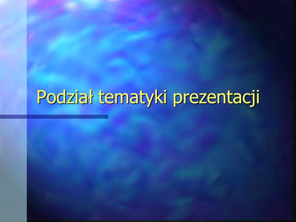 Podział tematyki prezentacji