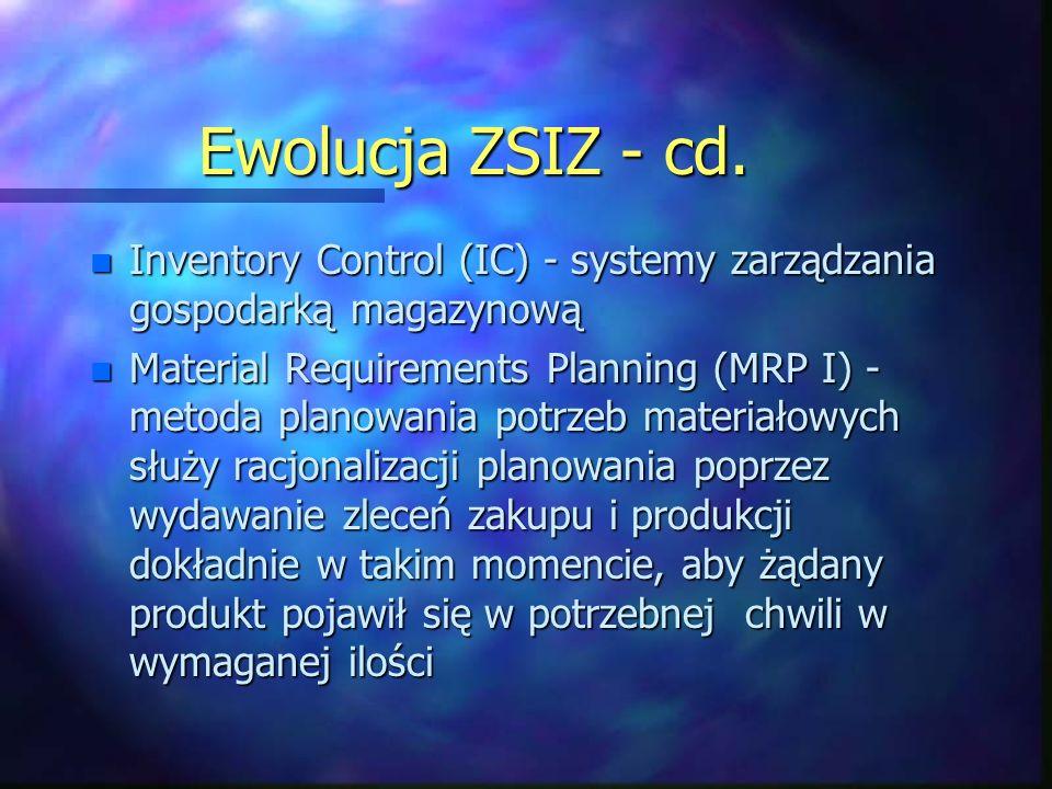 Ewolucja ZSIZ - cd. n Inventory Control (IC) - systemy zarządzania gospodarką magazynową n Material Requirements Planning (MRP I) - metoda planowania
