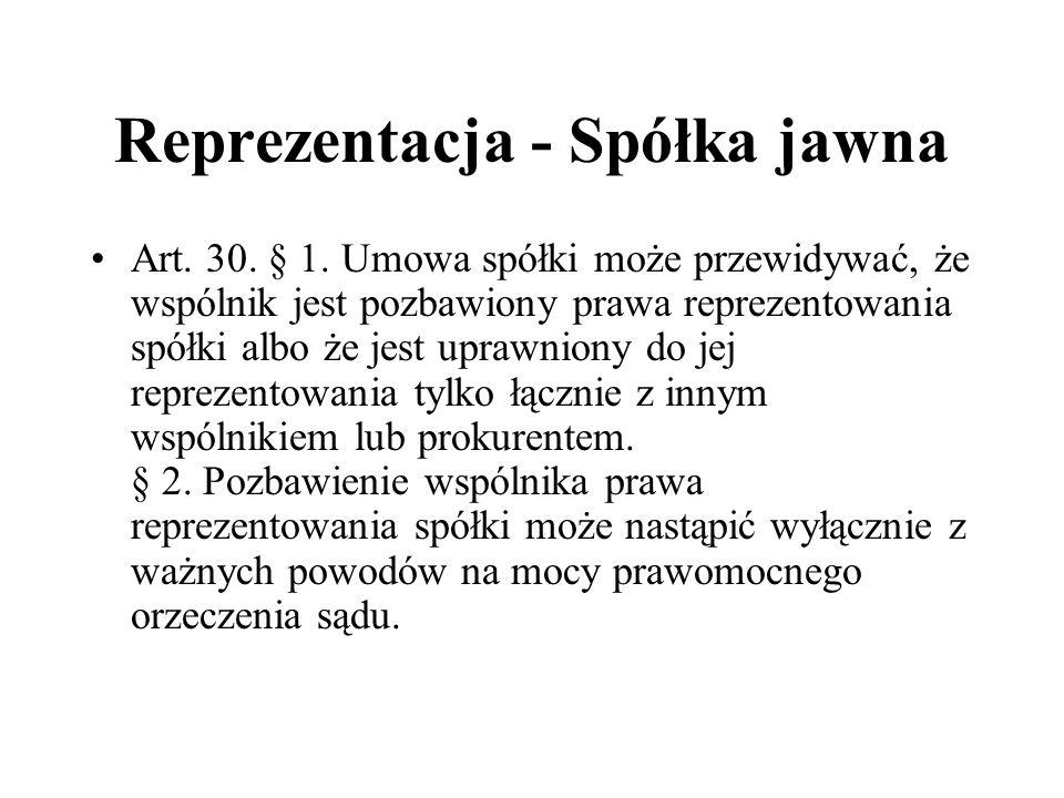 Reprezentacja - Spółka jawna Art. 30. § 1. Umowa spółki może przewidywać, że wspólnik jest pozbawiony prawa reprezentowania spółki albo że jest uprawn