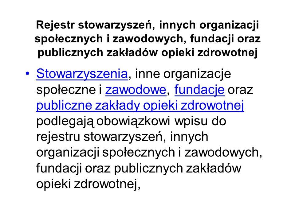 Rejestr stowarzyszeń, innych organizacji społecznych i zawodowych, fundacji oraz publicznych zakładów opieki zdrowotnej Stowarzyszenia, inne organizac