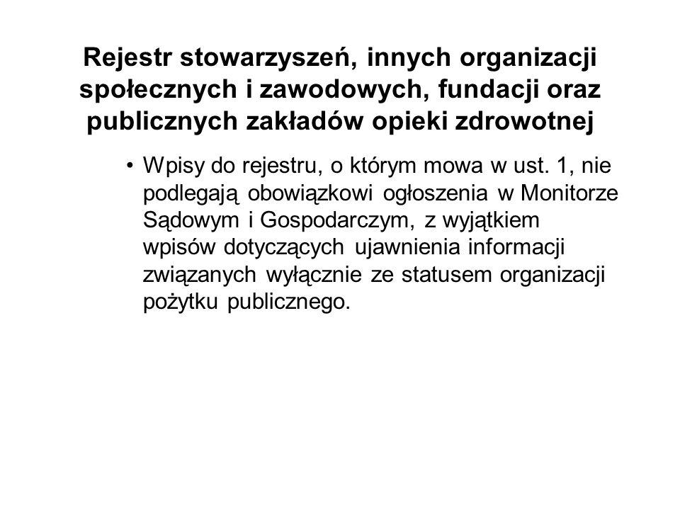 Rejestr stowarzyszeń, innych organizacji społecznych i zawodowych, fundacji oraz publicznych zakładów opieki zdrowotnej Wpisy do rejestru, o którym mo