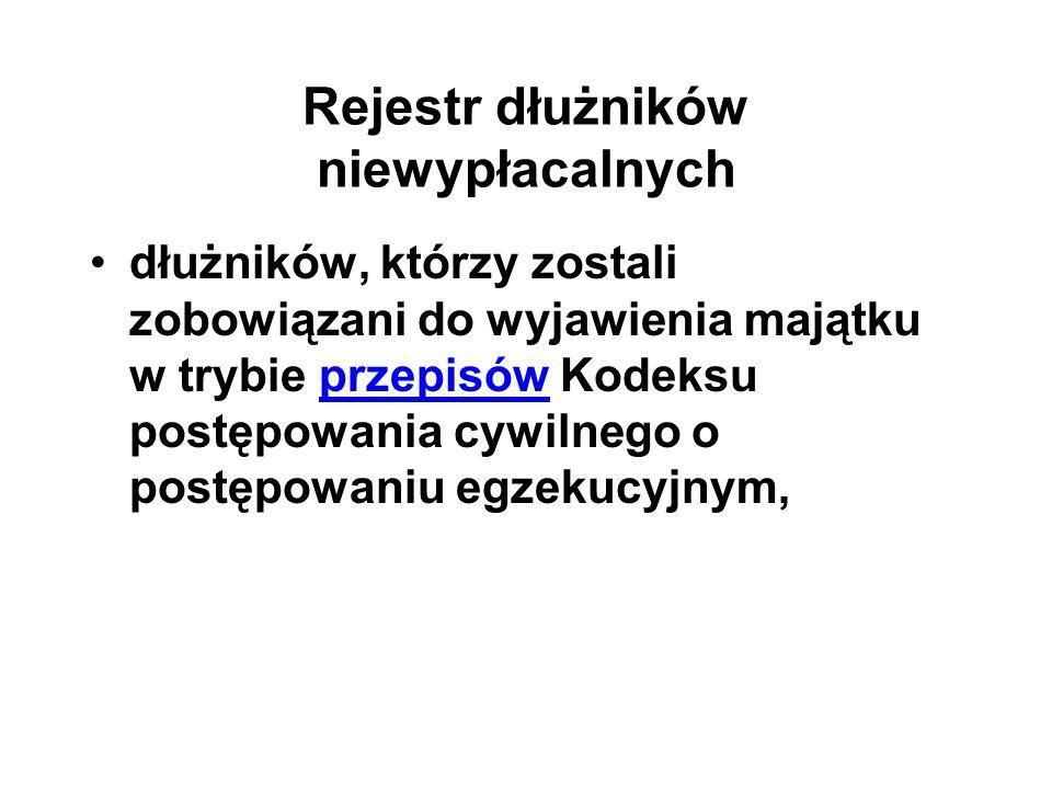 Rejestr dłużników niewypłacalnych dłużników, którzy zostali zobowiązani do wyjawienia majątku w trybie przepisów Kodeksu postępowania cywilnego o post