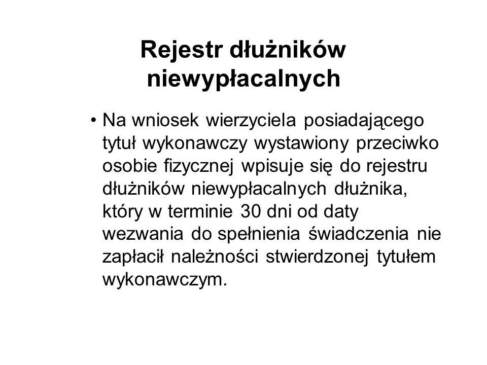 Rejestr dłużników niewypłacalnych Na wniosek wierzyciela posiadającego tytuł wykonawczy wystawiony przeciwko osobie fizycznej wpisuje się do rejestru