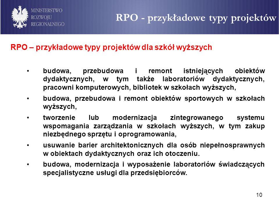 10 RPO – przykładowe typy projektów dla szkół wyższych budowa, przebudowa i remont istniejących obiektów dydaktycznych, w tym także laboratoriów dydak