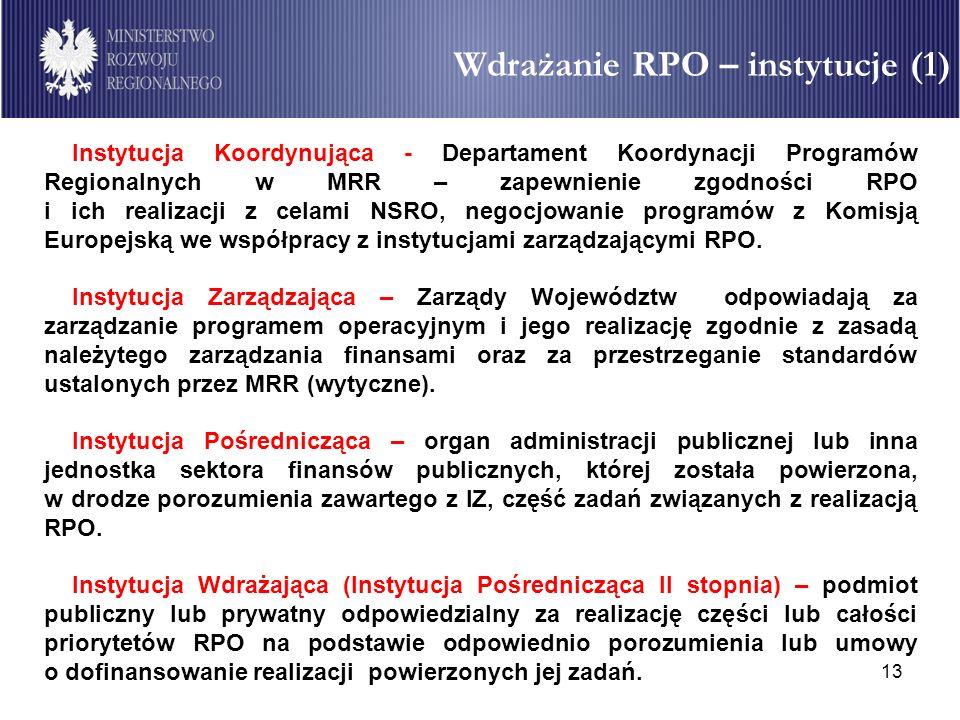 13 Instytucja Koordynująca - Departament Koordynacji Programów Regionalnych w MRR – zapewnienie zgodności RPO i ich realizacji z celami NSRO, negocjow