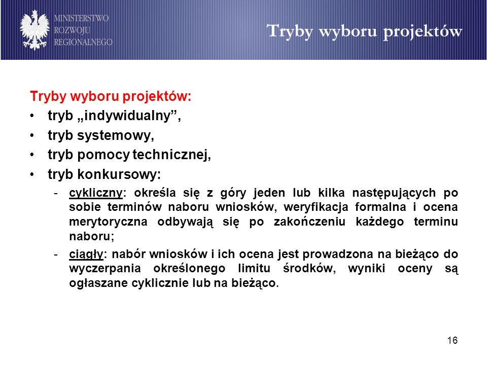 16 Tryby wyboru projektów Tryby wyboru projektów: tryb indywidualny, tryb systemowy, tryb pomocy technicznej, tryb konkursowy: -cykliczny: określa się