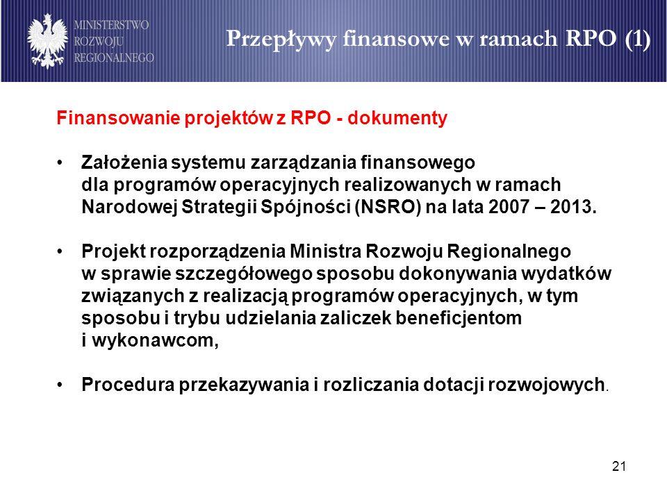 21 Przepływy finansowe w ramach RPO (1) Finansowanie projektów z RPO - dokumenty Założenia systemu zarządzania finansowego dla programów operacyjnych