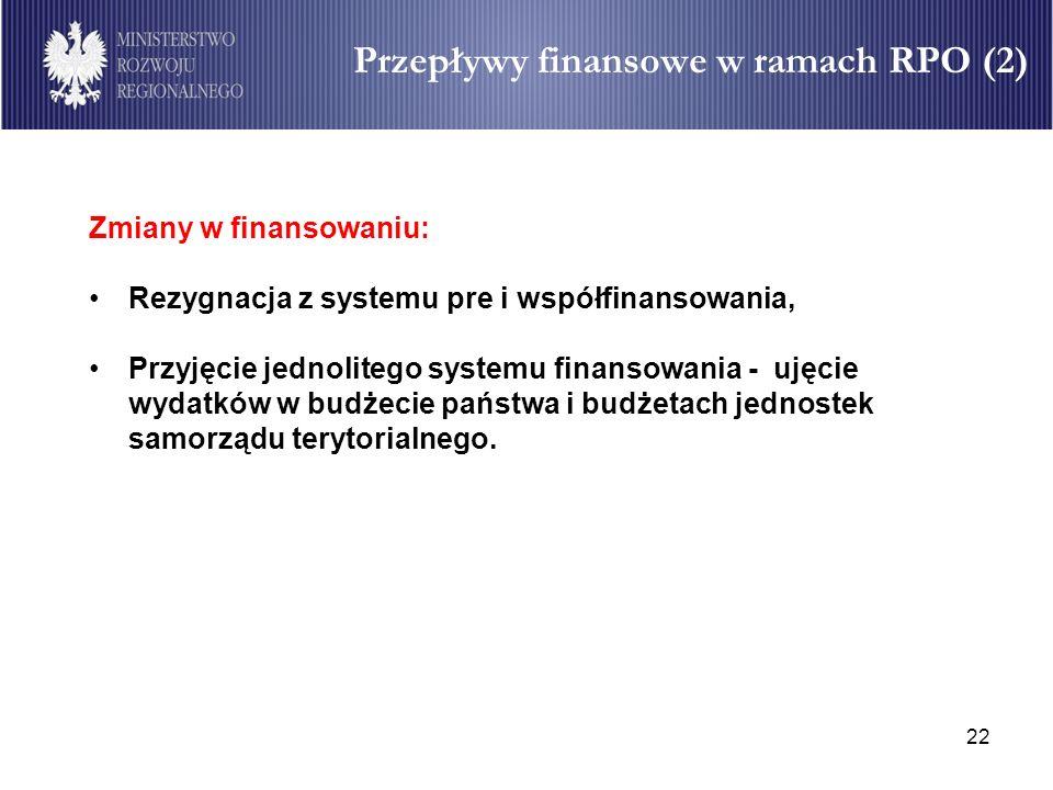 22 Przepływy finansowe w ramach RPO (2) Zmiany w finansowaniu: Rezygnacja z systemu pre i współfinansowania, Przyjęcie jednolitego systemu finansowani