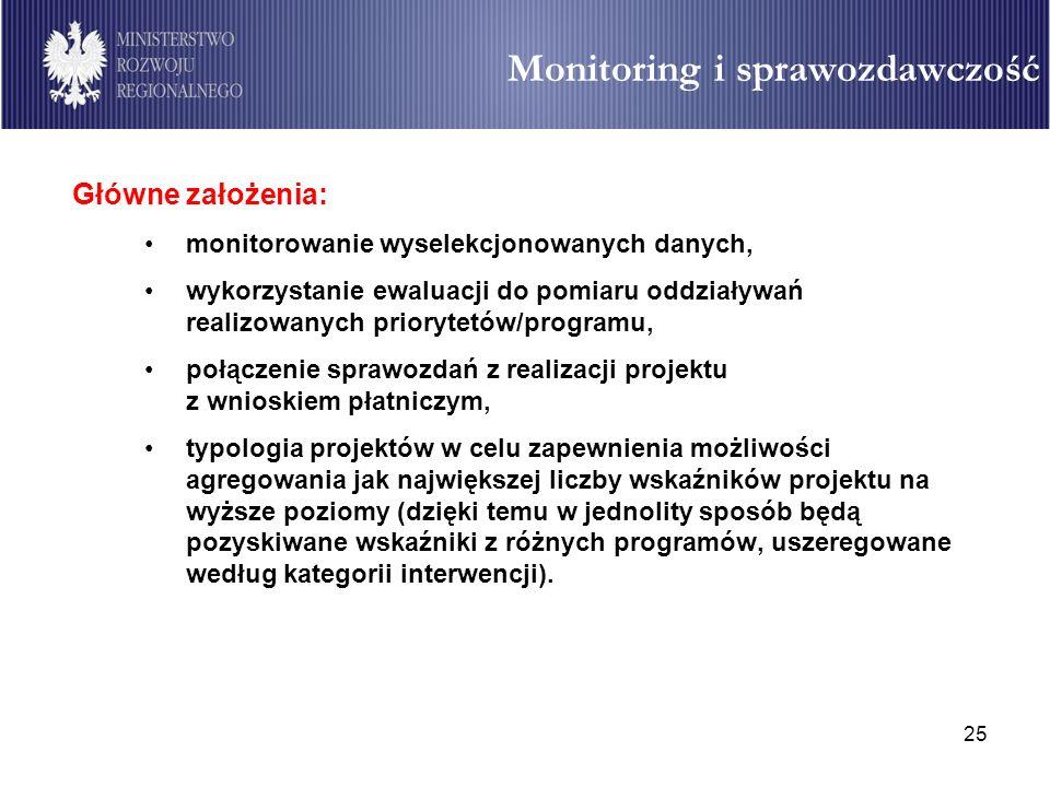 25 Monitoring i sprawozdawczość Główne założenia: monitorowanie wyselekcjonowanych danych, wykorzystanie ewaluacji do pomiaru oddziaływań realizowanyc