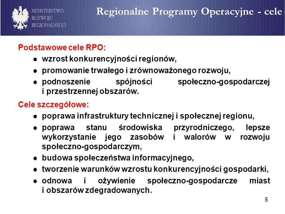 5 Regionalne Programy Operacyjne (RPO) Podstawowe cele RPO: wzrost konkurencyjności regionów, promowanie trwałego i zrównoważonego rozwoju, podnoszeni
