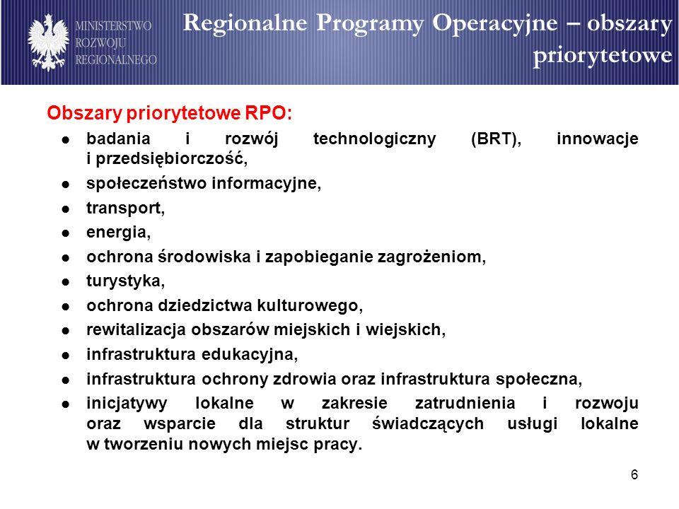 6 Obszary priorytetowe RPO: badania i rozwój technologiczny (BRT), innowacje i przedsiębiorczość, społeczeństwo informacyjne, transport, energia, ochr