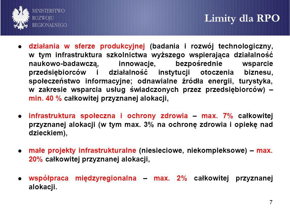 7 Limity dla RPO działania w sferze produkcyjnej (badania i rozwój technologiczny, w tym infrastruktura szkolnictwa wyższego wspierająca działalność n