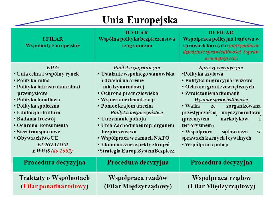 18 Unia Europejska I FILAR Wspólnoty Europejskie II FILAR Wspólna polityka bezpieczeństwa i zagraniczna III FILAR Współpraca policyjna i sądowa w spra