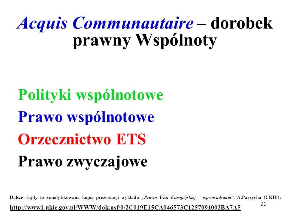 Acquis Communautaire – dorobek prawny Wspólnoty Polityki wspólnotowe Prawo wspólnotowe Orzecznictwo ETS Prawo zwyczajowe Dalsze slajdy to zmodyfikowan