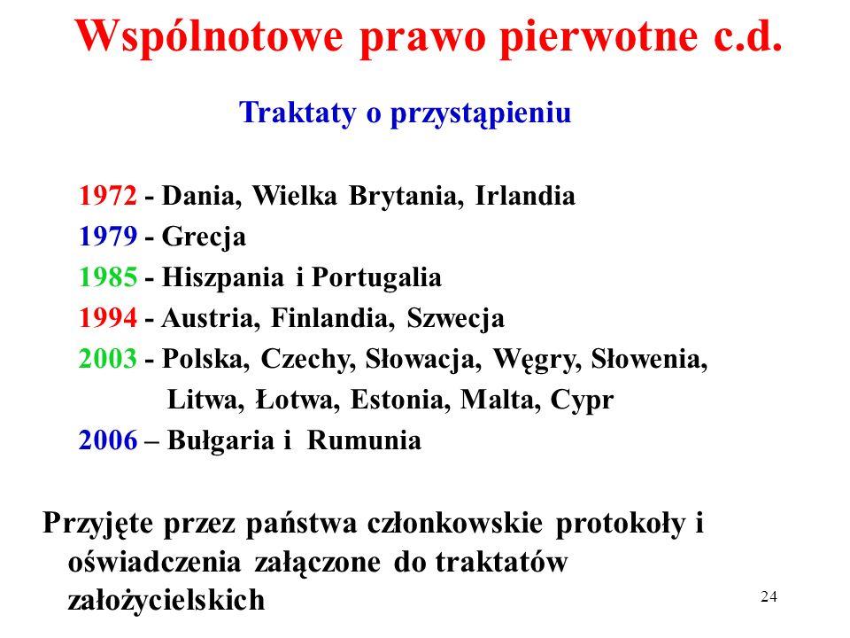 Traktaty o przystąpieniu 1972 - Dania, Wielka Brytania, Irlandia 1979 - Grecja 1985 - Hiszpania i Portugalia 1994 - Austria, Finlandia, Szwecja 2003 -