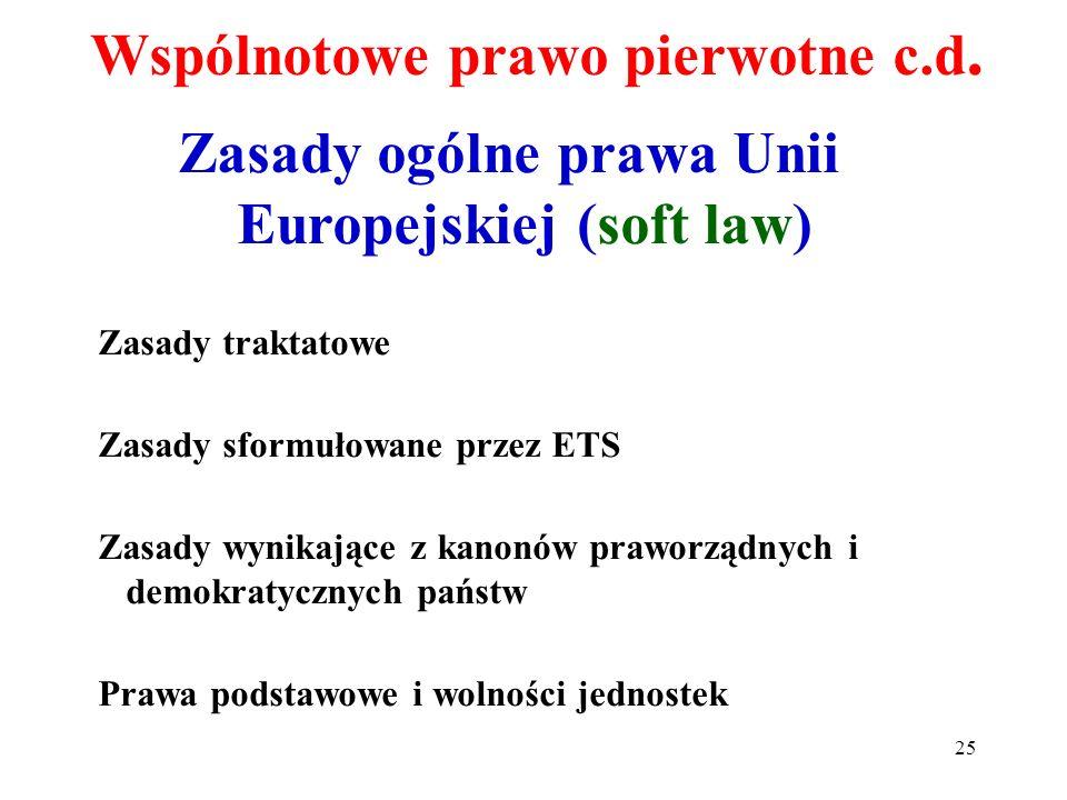 Zasady ogólne prawa Unii Europejskiej (soft law) Zasady traktatowe Zasady sformułowane przez ETS Zasady wynikające z kanonów praworządnych i demokraty