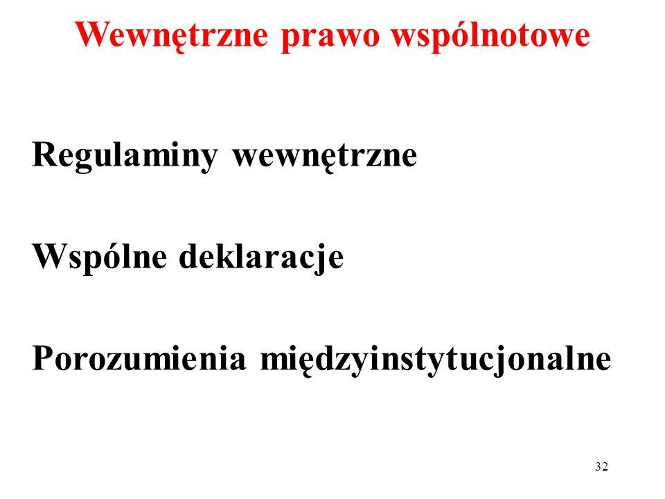 Regulaminy wewnętrzne Wspólne deklaracje Porozumienia międzyinstytucjonalne Wewnętrzne prawo wspólnotowe 32