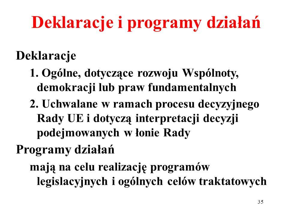 Deklaracje 1. Ogólne, dotyczące rozwoju Wspólnoty, demokracji lub praw fundamentalnych 2. Uchwalane w ramach procesu decyzyjnego Rady UE i dotyczą int