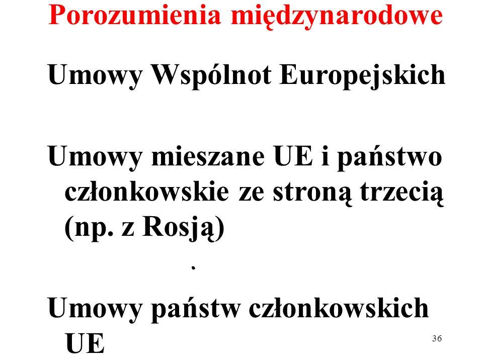 Porozumienia międzynarodowe Umowy Wspólnot Europejskich Umowy mieszane UE i państwo członkowskie ze stroną trzecią (np. z Rosją) Umowy państw członkow