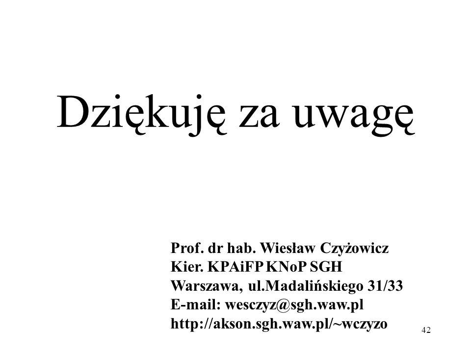 Dziękuję za uwagę 42 Prof. dr hab. Wiesław Czyżowicz Kier. KPAiFP KNoP SGH Warszawa, ul.Madalińskiego 31/33 E-mail: wesczyz@sgh.waw.pl http://akson.sg