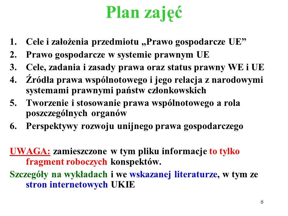Plan zajęć 1.Cele i założenia przedmiotu Prawo gospodarcze UE 2.Prawo gospodarcze w systemie prawnym UE 3.Cele, zadania i zasady prawa oraz status pra