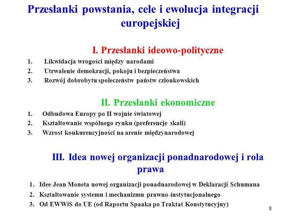 Przesłanki powstania, cele i ewolucja integracji europejskiej I. Przesłanki ideowo-polityczne 1.Likwidacja wrogości między narodami 2.Utrwalenie demok