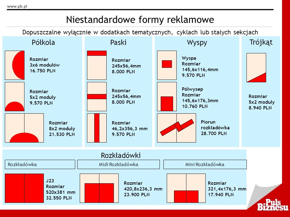 Niestandardowe formy reklamowe Półkola Rozmiar 3x6 modułów 16.750 PLN Rozmiar 5x2 moduły 9.570 PLN Rozmiar 8x2 moduły 21.530 PLN Dopuszczalne wyłączni