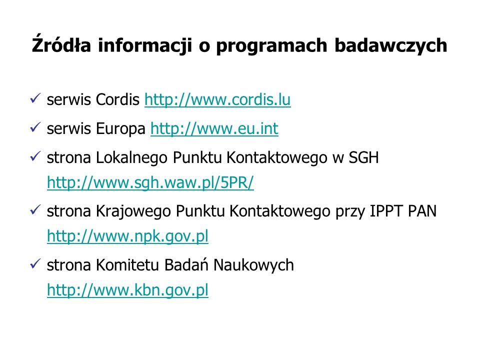Źródła informacji o programach badawczych serwis Cordis http://www.cordis.luhttp://www.cordis.lu serwis Europa http://www.eu.inthttp://www.eu.int strona Lokalnego Punktu Kontaktowego w SGH http://www.sgh.waw.pl/5PR/ http://www.sgh.waw.pl/5PR/ strona Krajowego Punktu Kontaktowego przy IPPT PAN http://www.npk.gov.pl http://www.npk.gov.pl strona Komitetu Badań Naukowych http://www.kbn.gov.pl http://www.kbn.gov.pl