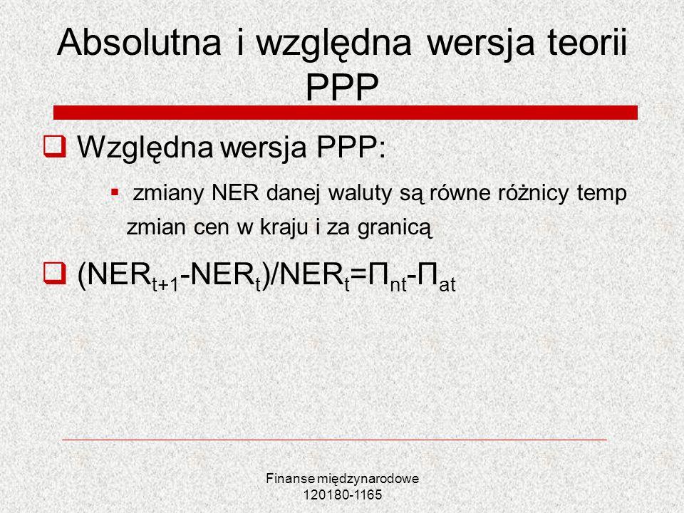 Finanse międzynarodowe 120180-1165 Absolutna i względna wersja teorii PPP Względna wersja PPP: zmiany NER danej waluty są równe różnicy temp zmian cen