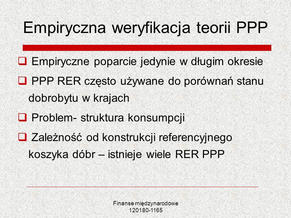 Finanse międzynarodowe 120180-1165 Empiryczna weryfikacja teorii PPP Empiryczne poparcie jedynie w długim okresie PPP RER często używane do porównań s