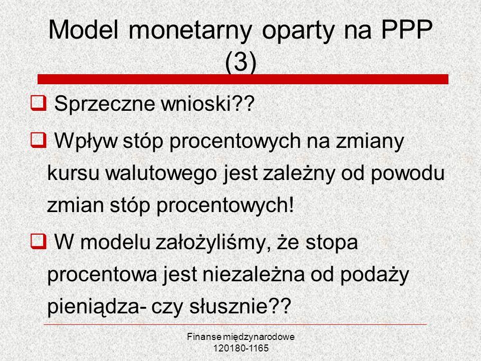 Finanse międzynarodowe 120180-1165 Model monetarny oparty na PPP (3) Sprzeczne wnioski?? Wpływ stóp procentowych na zmiany kursu walutowego jest zależ