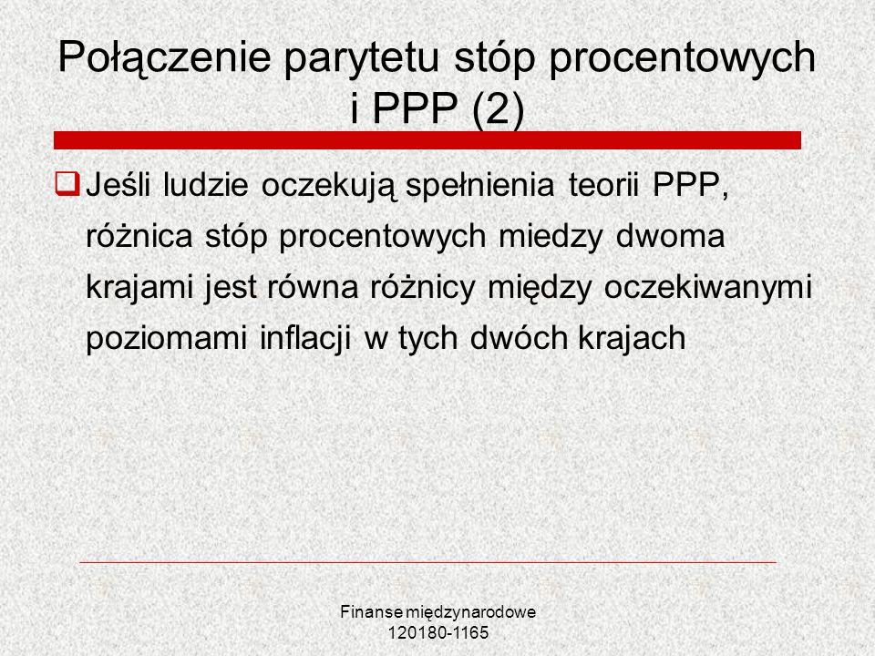 Finanse międzynarodowe 120180-1165 Połączenie parytetu stóp procentowych i PPP (2) Jeśli ludzie oczekują spełnienia teorii PPP, różnica stóp procentow