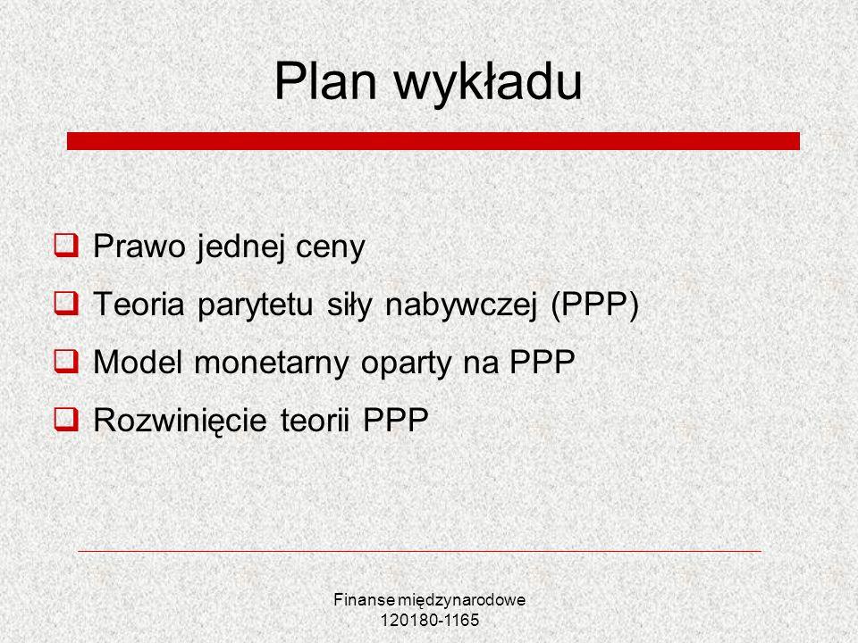 Finanse międzynarodowe 120180-1165 Plan wykładu Prawo jednej ceny Teoria parytetu siły nabywczej (PPP) Model monetarny oparty na PPP Rozwinięcie teori