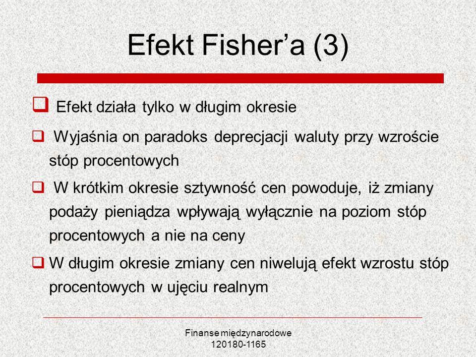 Finanse międzynarodowe 120180-1165 Efekt Fishera (3) Efekt działa tylko w długim okresie Wyjaśnia on paradoks deprecjacji waluty przy wzroście stóp pr