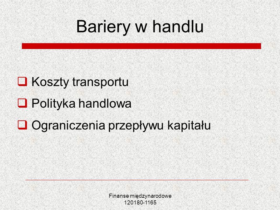 Finanse międzynarodowe 120180-1165 Bariery w handlu Koszty transportu Polityka handlowa Ograniczenia przepływu kapitału