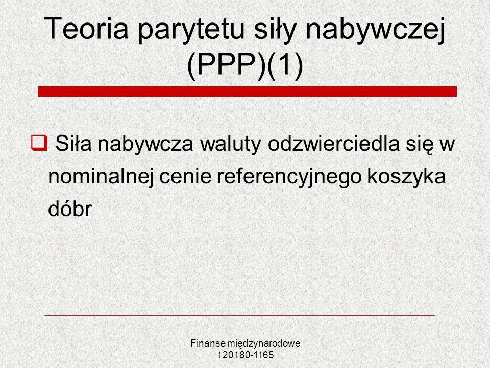 Finanse międzynarodowe 120180-1165 Teoria parytetu siły nabywczej (PPP)(1) Siła nabywcza waluty odzwierciedla się w nominalnej cenie referencyjnego ko