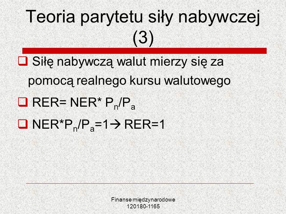 Finanse międzynarodowe 120180-1165 Teoria parytetu siły nabywczej (4) Waluta przewartościowana gdy RER>1 oznacza to: NER* P n >P a Waluta niedowartościowana gdy RER<1 oznacza to: NER* P n <P a Arbitraż P n i NER spada (lub wzrasta) więc RER=1
