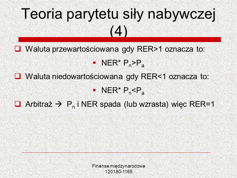 Finanse międzynarodowe 120180-1165 Teoria parytetu siły nabywczej (4) Waluta przewartościowana gdy RER>1 oznacza to: NER* P n >P a Waluta niedowartośc